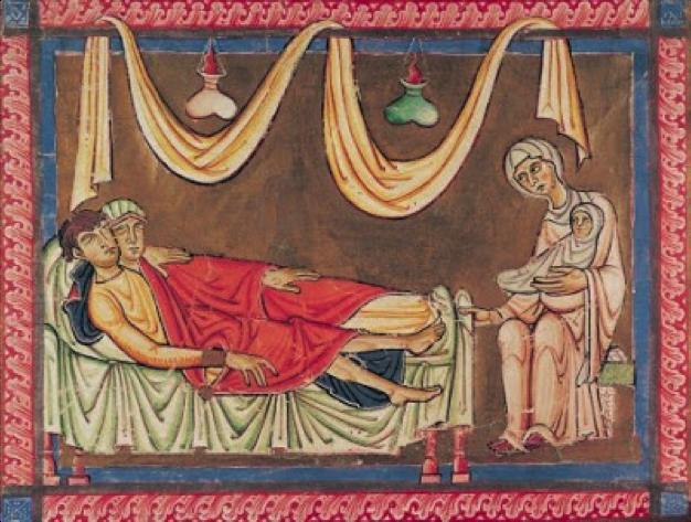 Marriage of Hosea and the Prostitute   , Bible of Saint André au Bois, Bibliothèque municipale de Boulogne sur Mer, 12th century