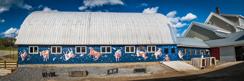 To the right (of our barn-side  mural by Tara Gareau ) you can see the intersection of the barn, creamery, and Green Machine.