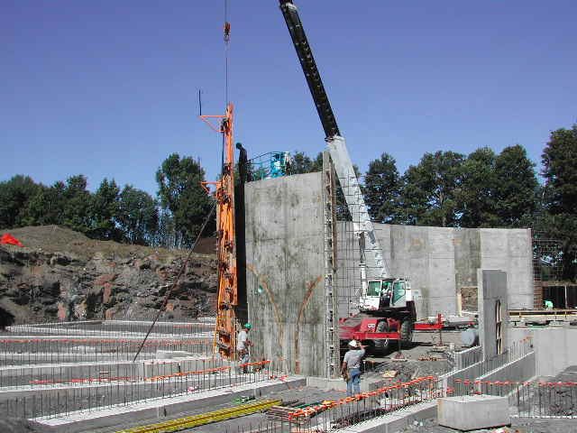 After the basic foundation was poured, a semi-circular retaining wall was erected.