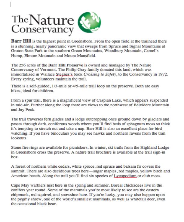 Nature Preserve Info