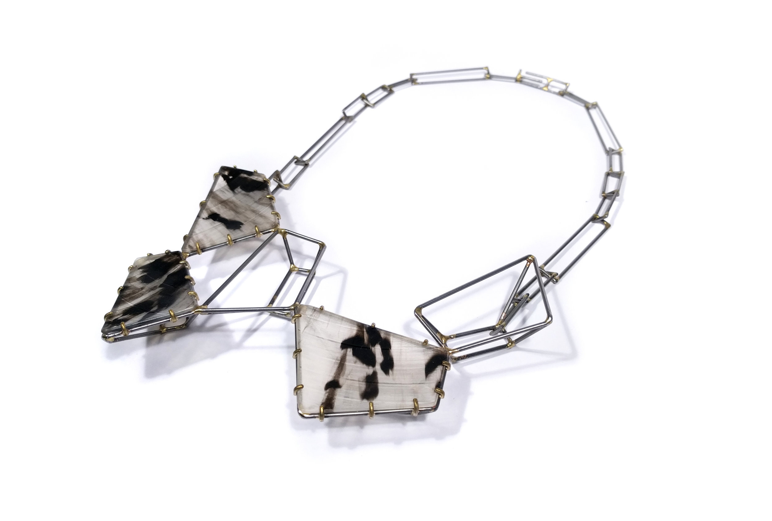 Foundation Trapezoid Cluster Necklace with Marbled Vinyl