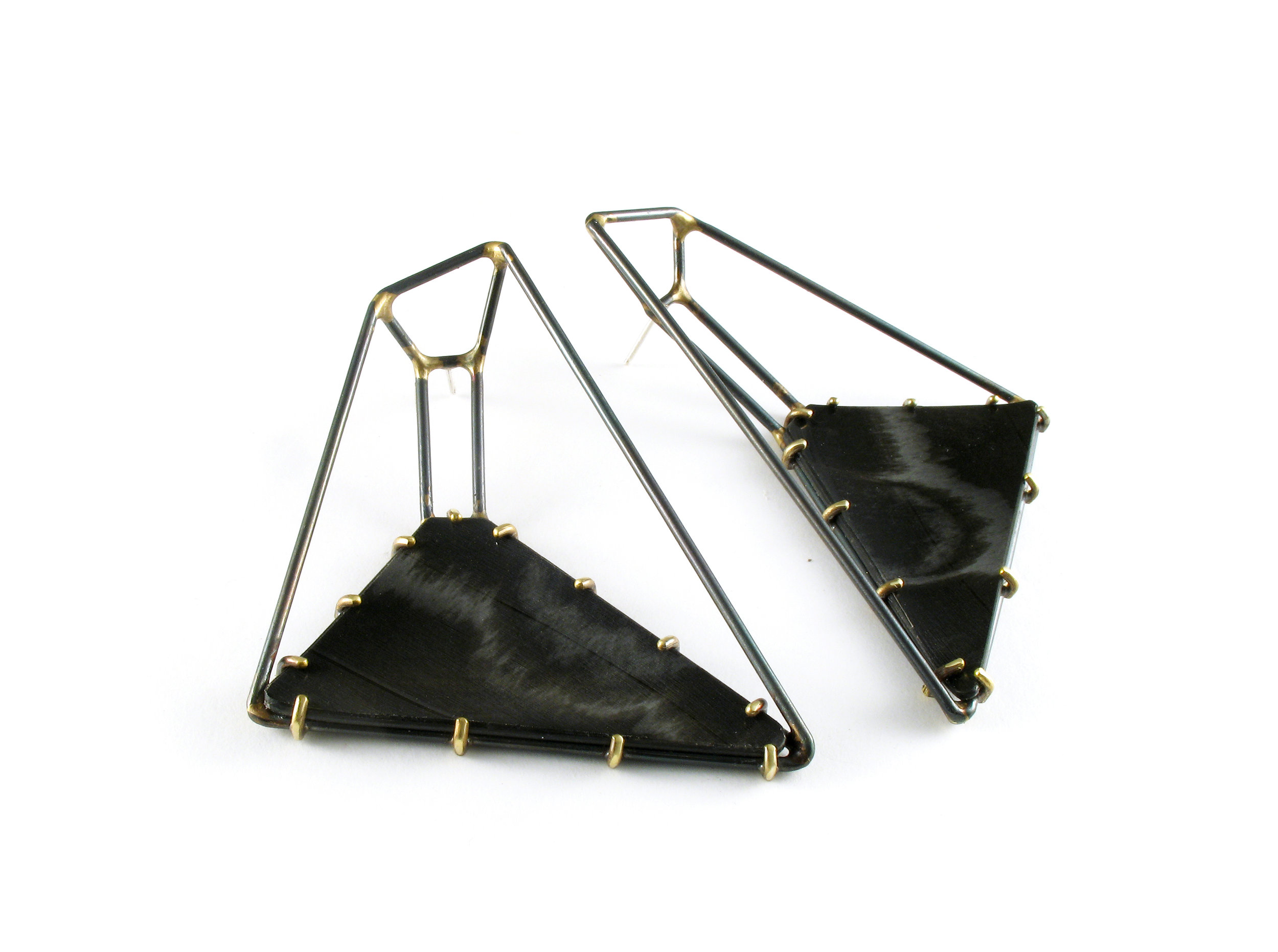 Foundation Trapezoid Earrings with Black Marbled Vinyl