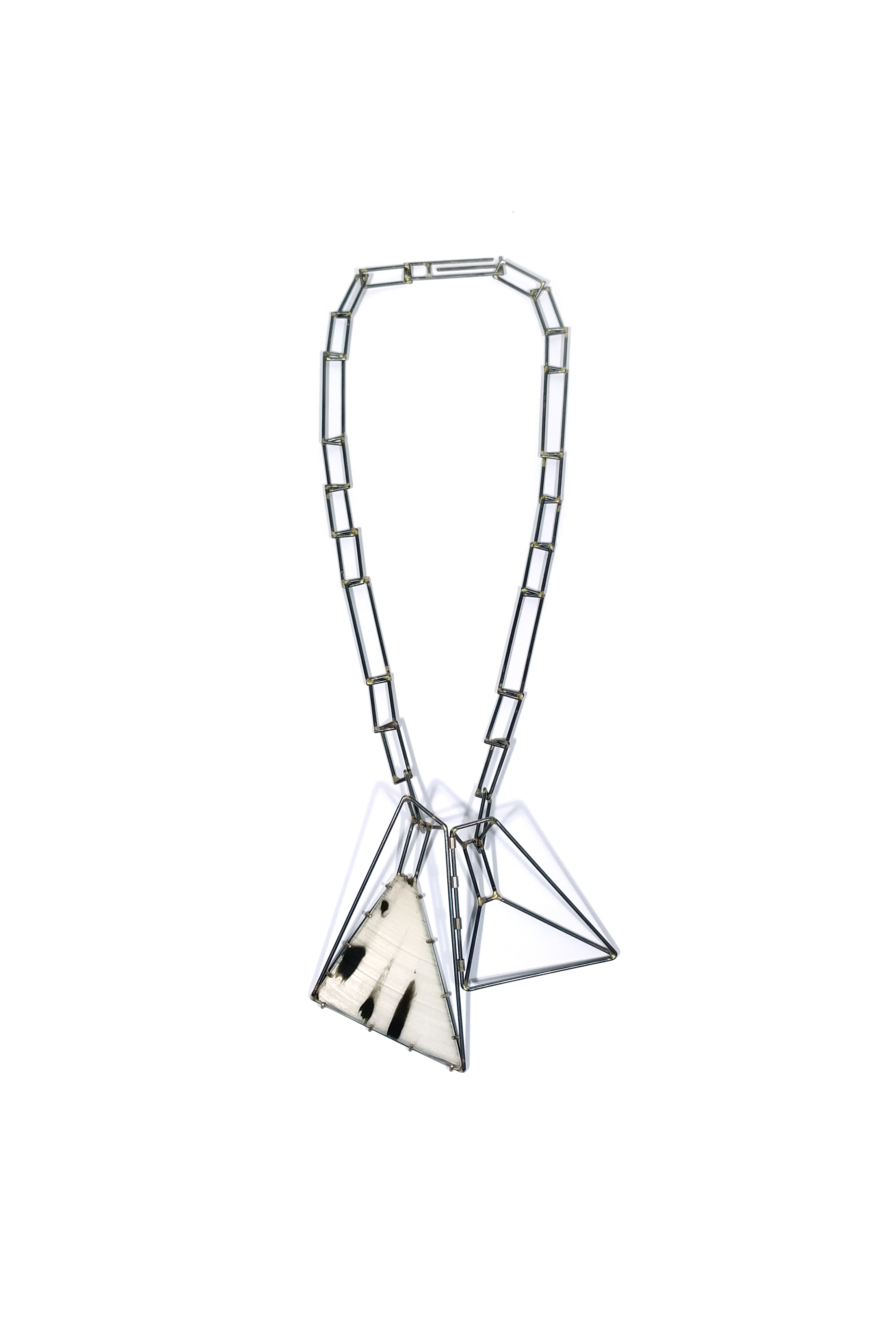 Foundation Trapezoid Necklace with Marbled Vinyl