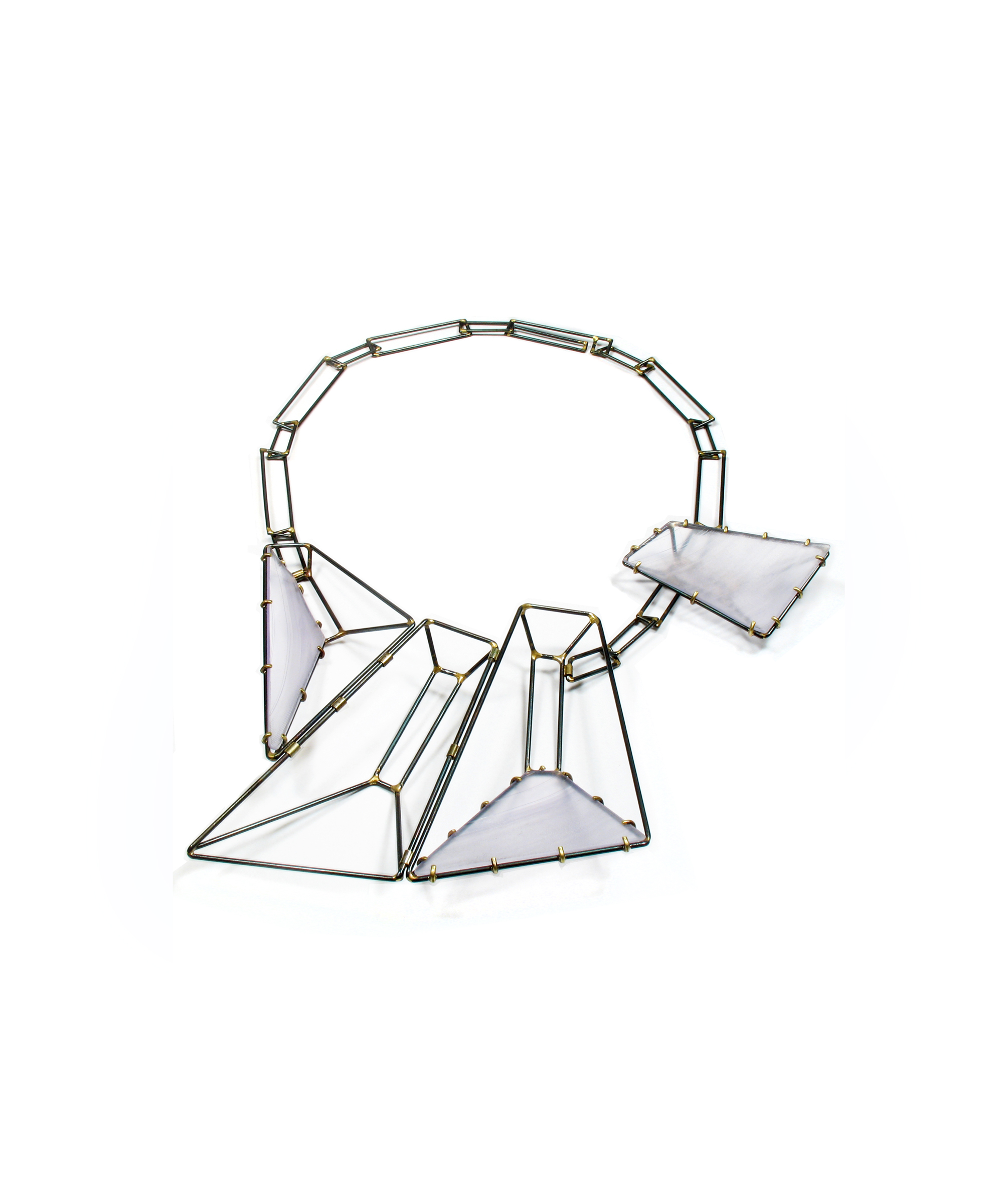 Foundation Trapezoid Necklace with Clear Vinyl LPs