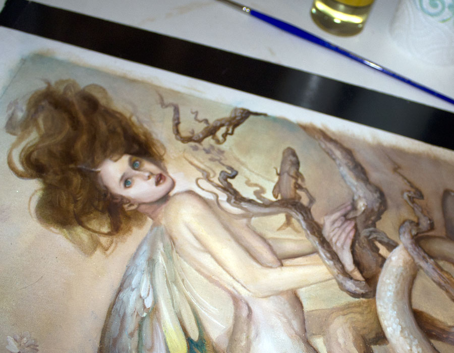 The first stage of color over the sepia underpaitning