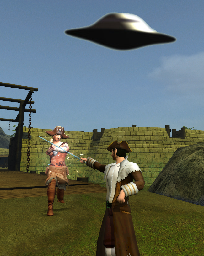 An Alien Saucer hovers over a fencing duel, ready to abduct the victor!