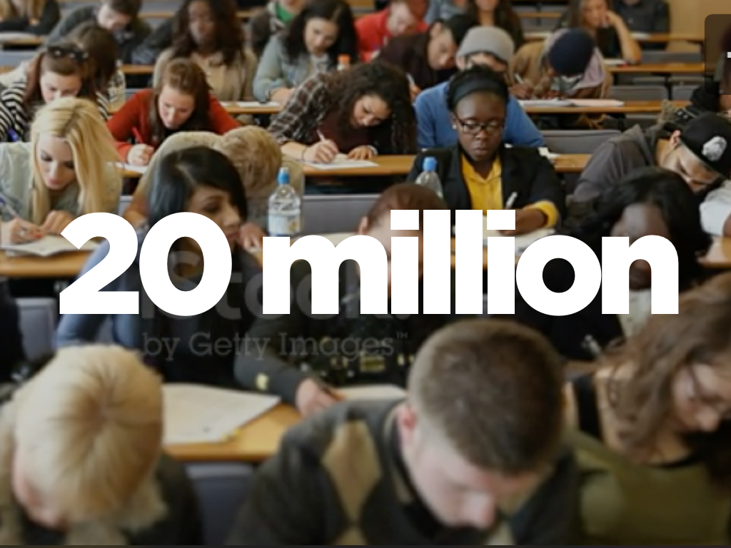 Every year, 20 million young people enter college. (iStock video background)