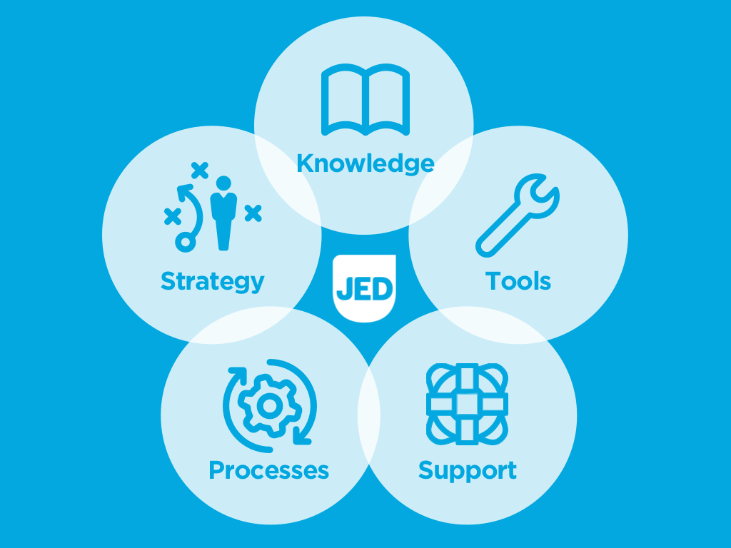 Our comprehensive approach ties together knowledge, strategy, process, support and tools (Circles animate in around logo)