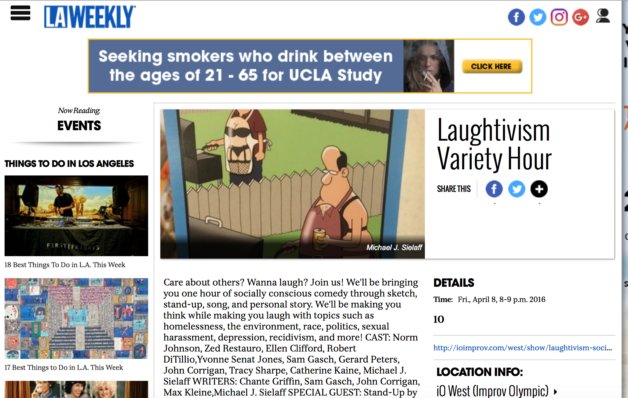 L.A. Weekly - Read about the sketches that I wrote!