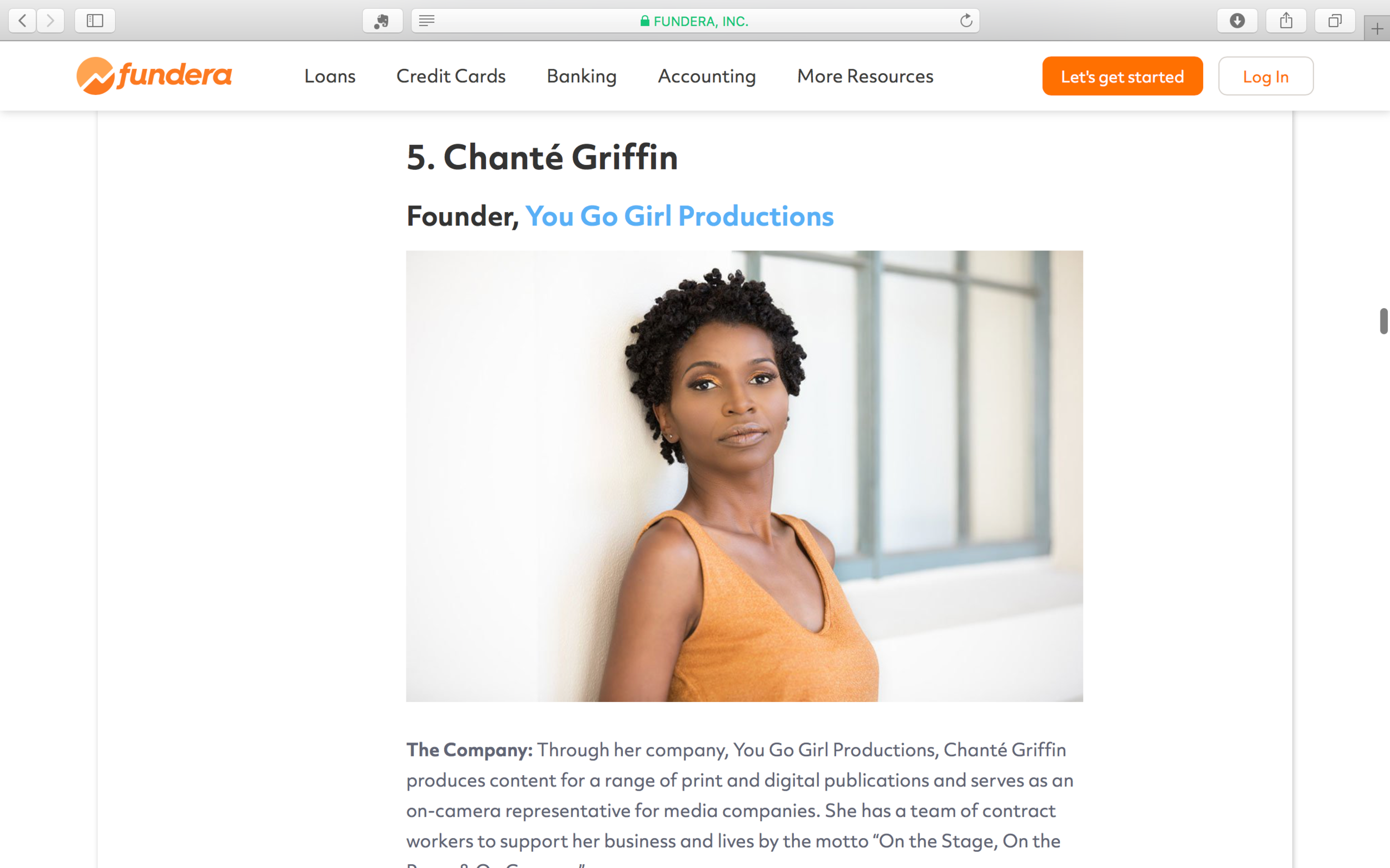 Fundera - I'm #5 on Fundera's list of women of color entrepreneurs.