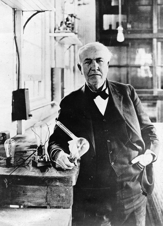 Thomas Edison & the Light Bulb. Source: Wikimedia Commons