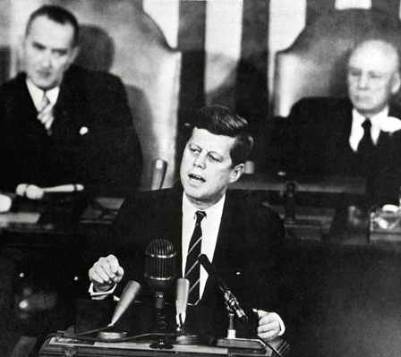 President John F. Kennedy speaking at the joint session of Congress, May 25, 1961 (Source: JFK Library)