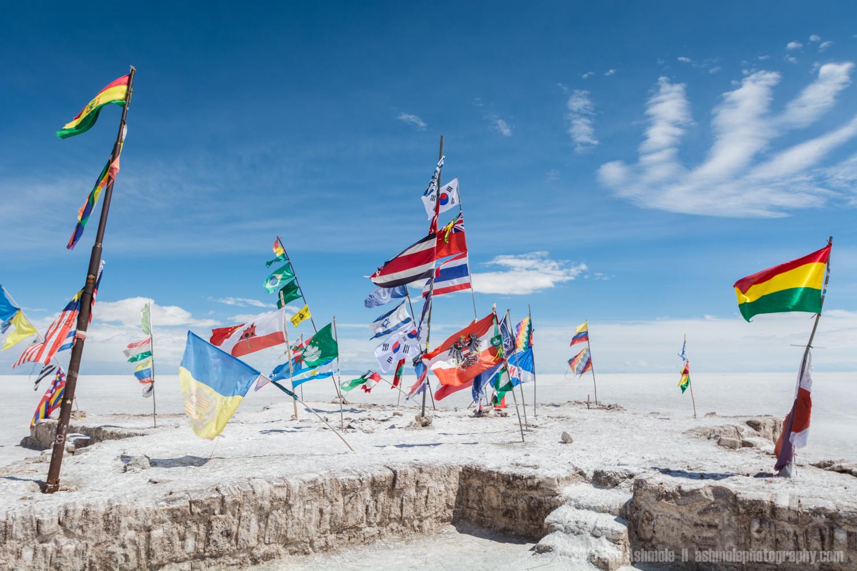 National Flags, Uyuni Slat Flat, Bolivian Highlands