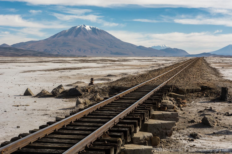 Train Track Through The Desert, Uyuni Salt Flats, Bolivia