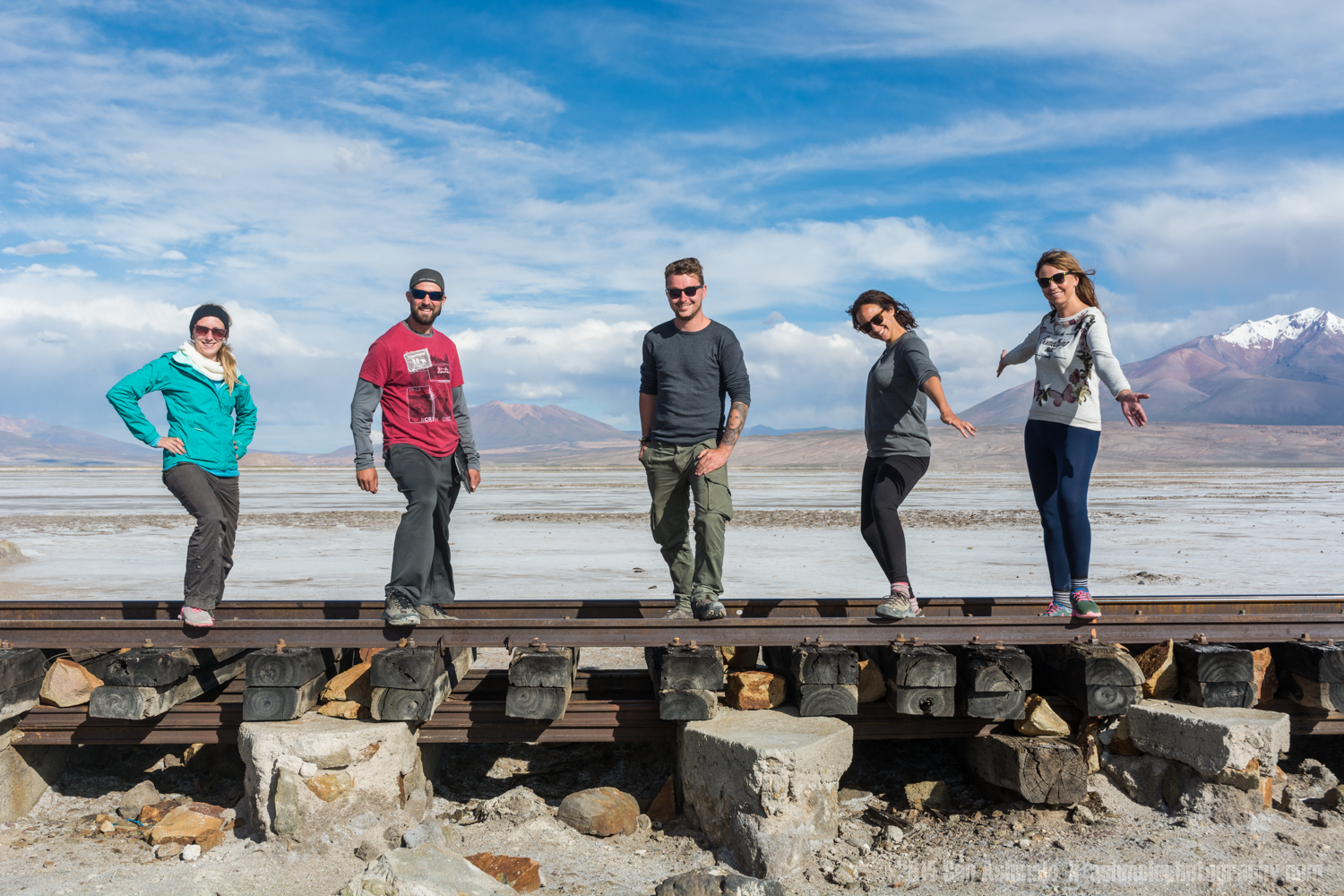 Tour Group On Train Track 2, Bolivian Highlands