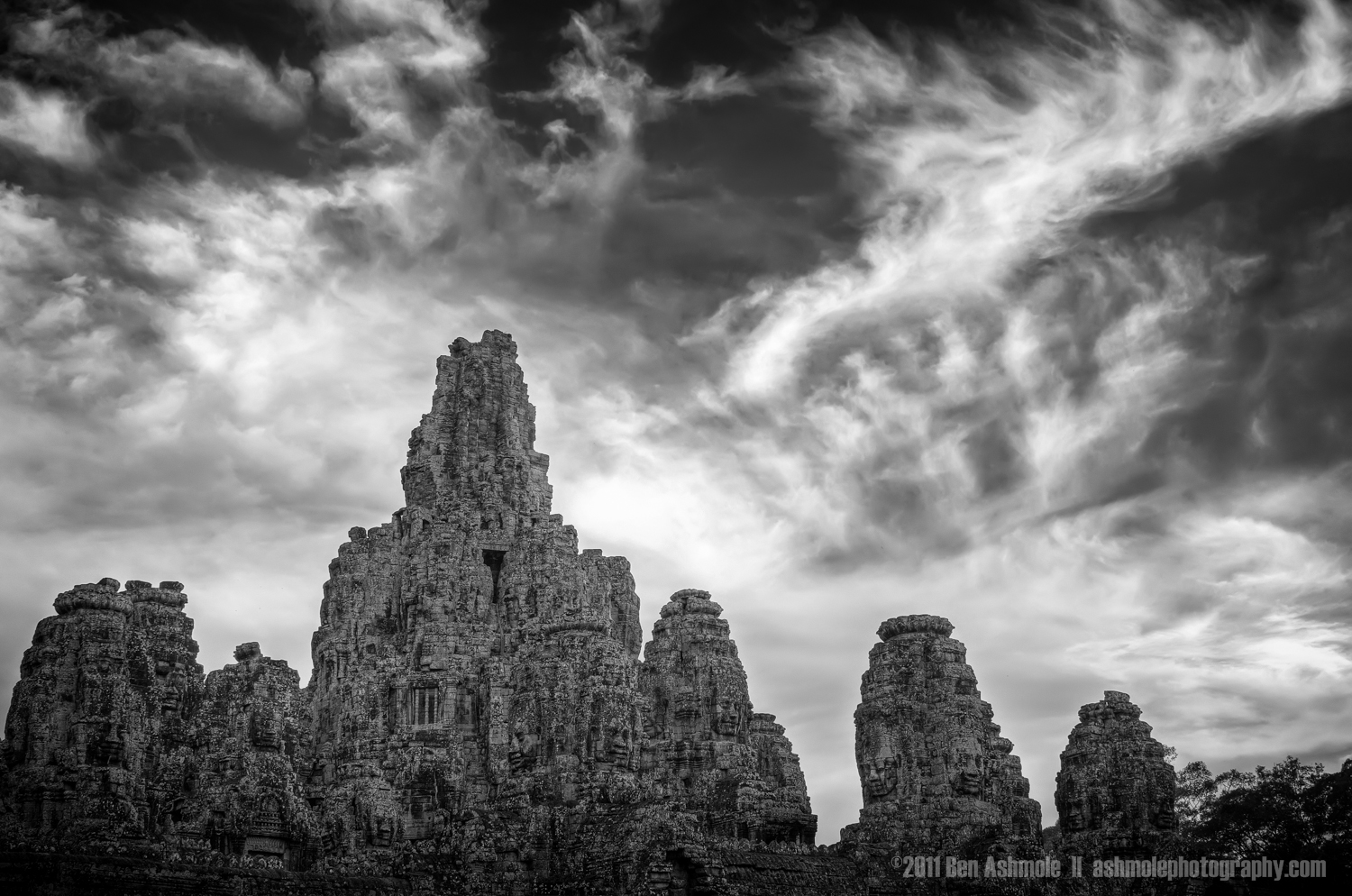 Bayon Under Cloud, Angkor, Cambodia