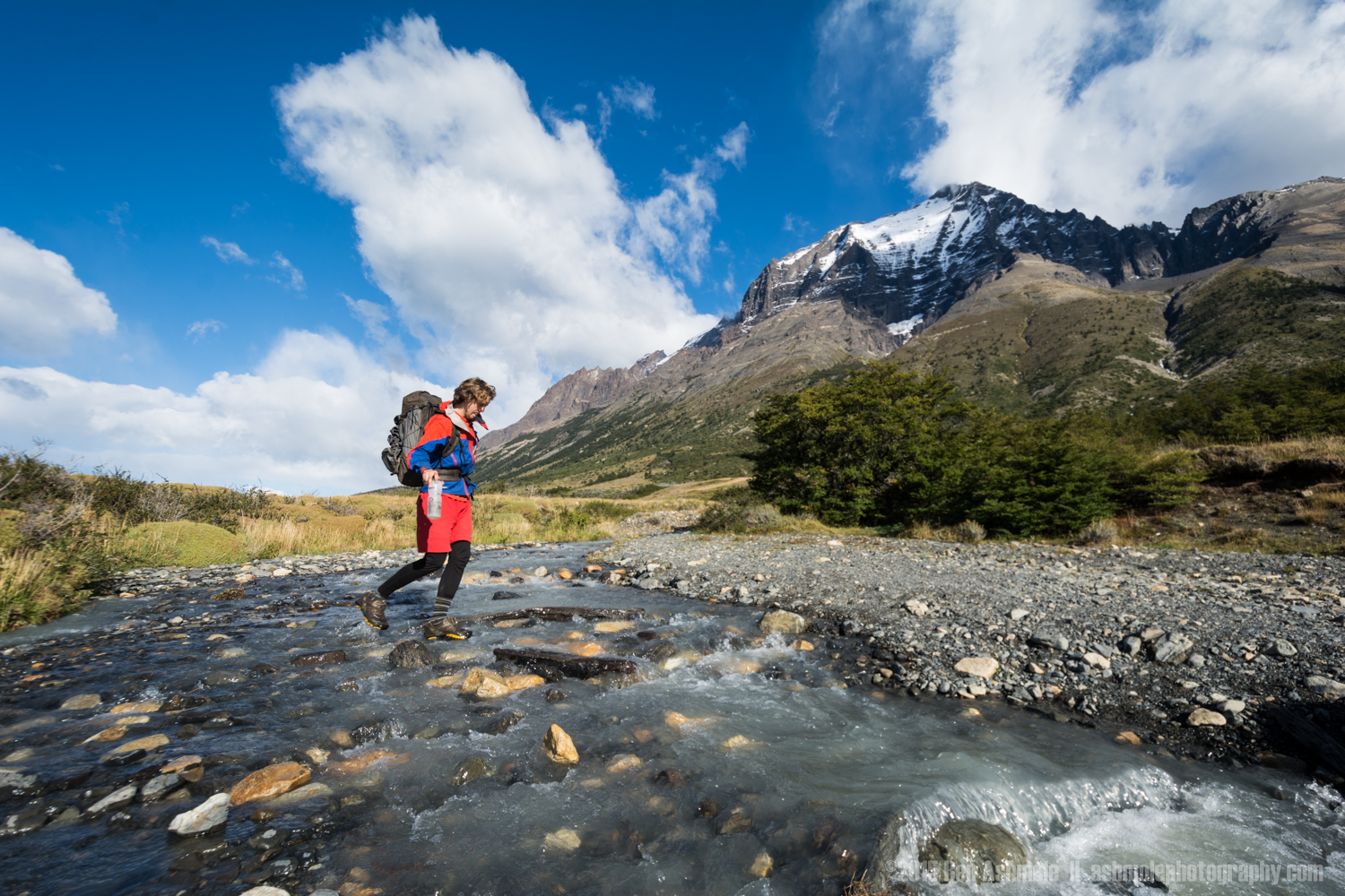Crossing The River, Torres Del Paine, Patagonia, Chile