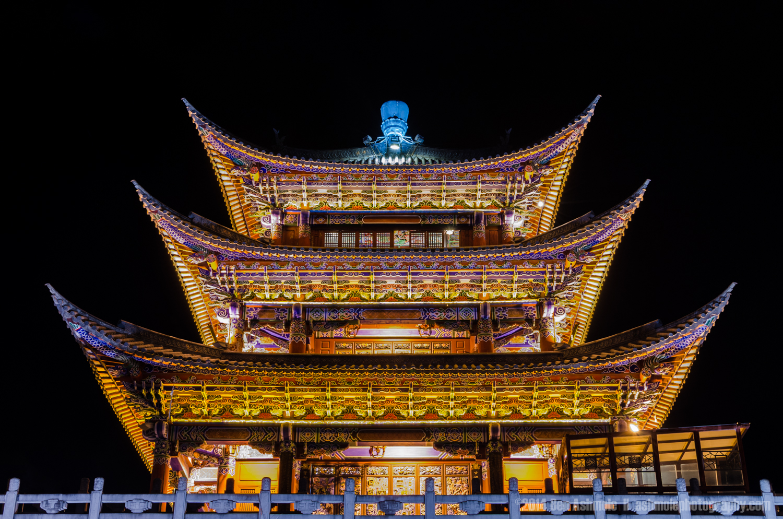 Neon Pagoda, Dali, Yunnan Province, China