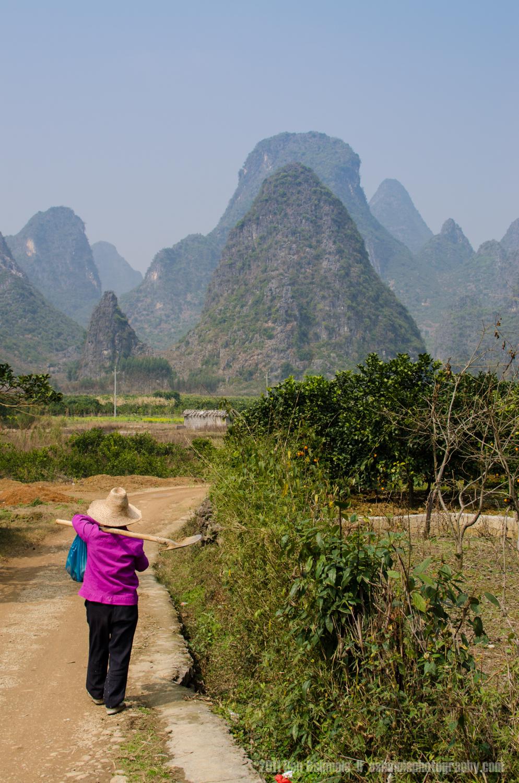 Walking To Work, Xingping, Gunagxi Province, China