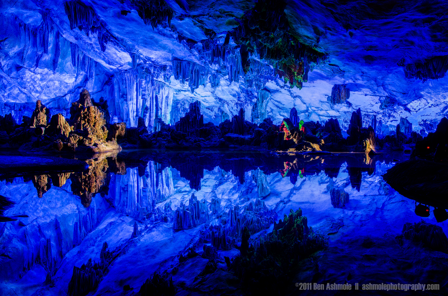 Underground Pool Reflection, Reed Flute Caves, Guangxi province,