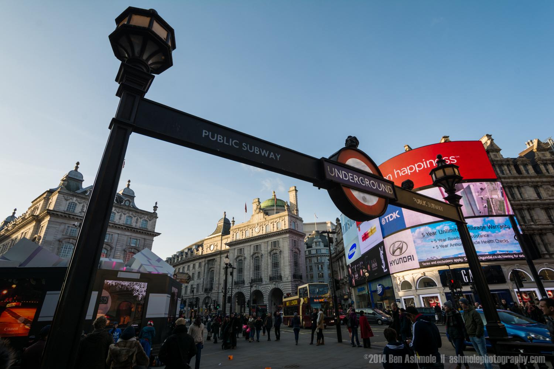 Picadilly Circus Underground Stop, London, UK