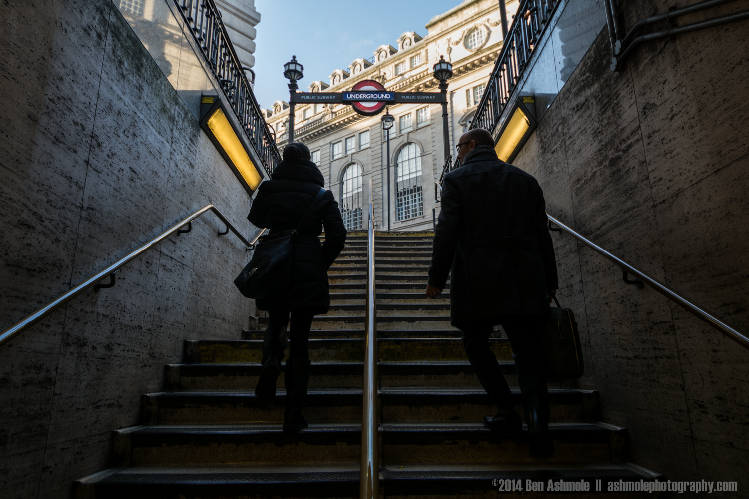 Leaving The Underground Station, Picadilly Circus, London, UK
