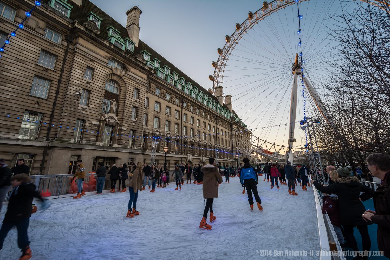 Ice Skating By The London Eye, London, UK