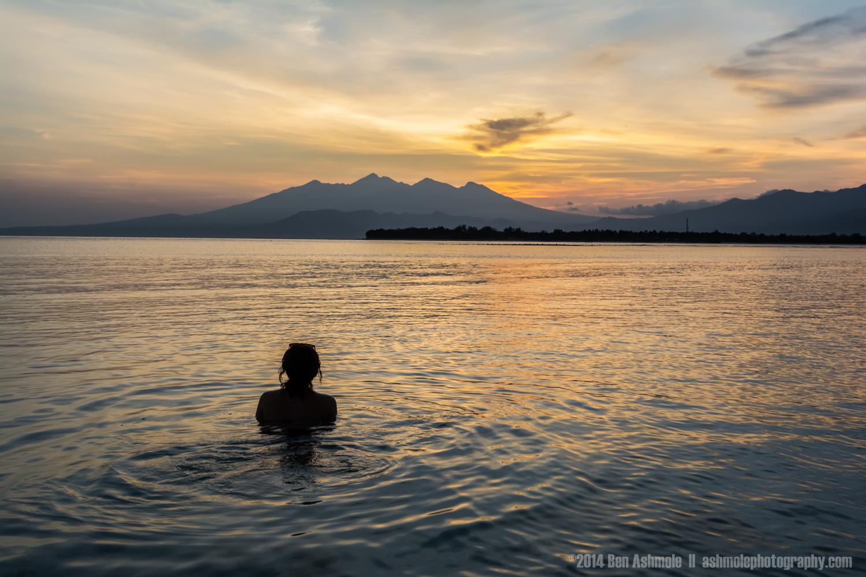 Watching Sunrise Over Mt Rinjani, Gili Trawangan, Indonesia