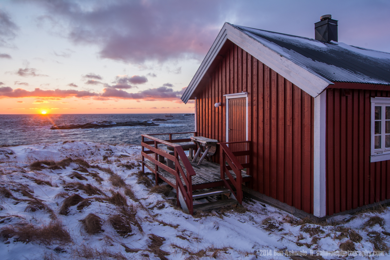 Cabin At Sunset, Reine, Lofoten Islands, Norway
