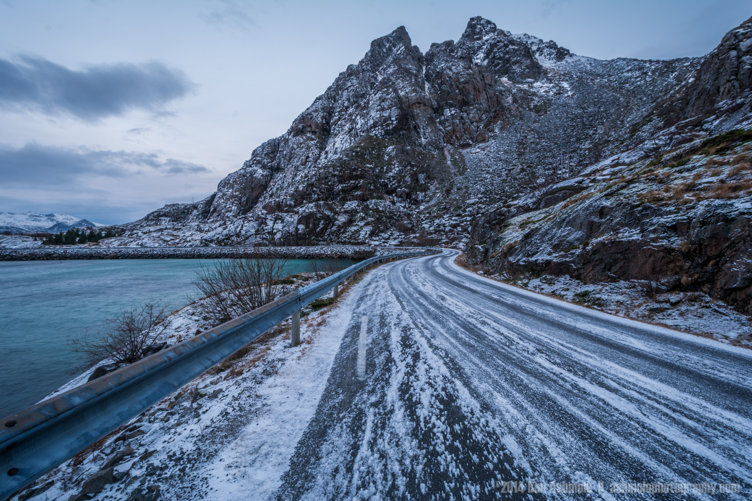 Icy Road, Lofoten slands, Norway