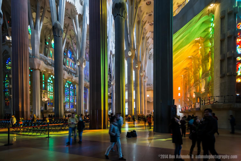 Inside The Sagrada Familia, Barcelona, Spain