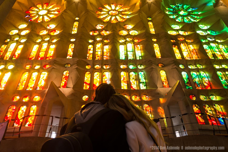 Enjoying The Stained Glass Windows, La Sagrada Familia, Barcelon