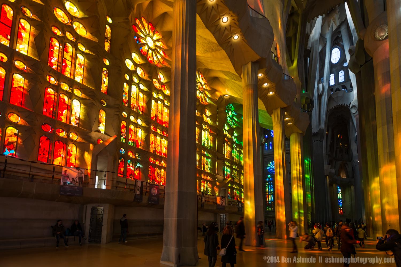 Stained Glass Windows Of The Sagrada Familia, Barcelona, Spain