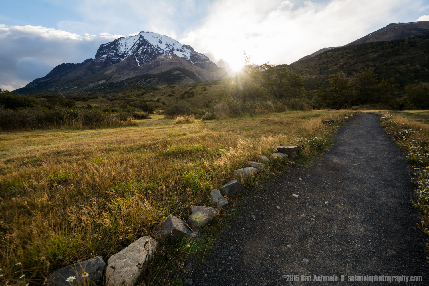 Sunset Mountain Path, Torres Del Paine, Patagonia, Chile