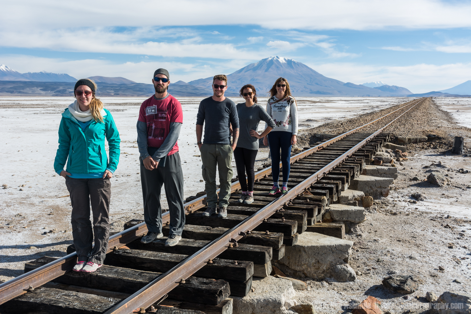 Tour Group On Train Track, Bolivian Highlands