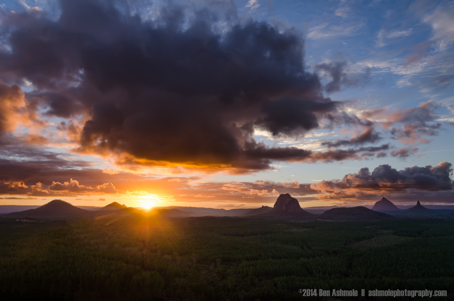 Sunset from Wild Horse Mountain, Glass House Mountains, Queensla