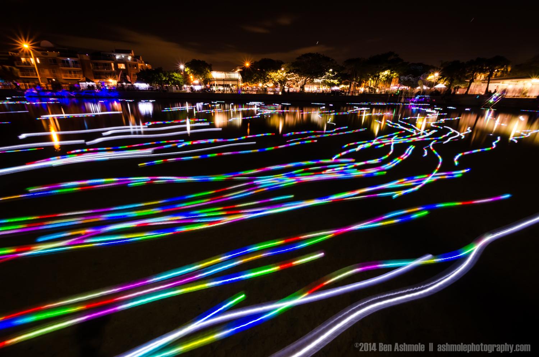 Floating Lanterns In Long Exposure, Brisbane, Australia