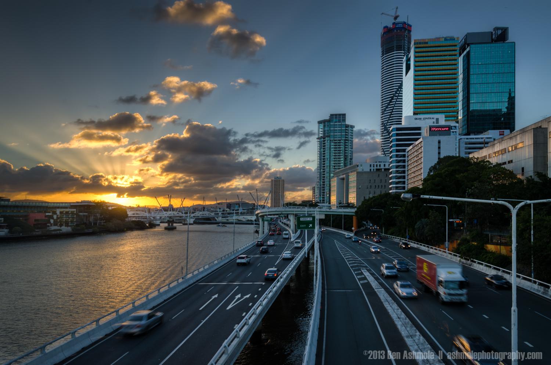 Sunset By The Pacific Motorway, Brisbane, Queensland, Australia