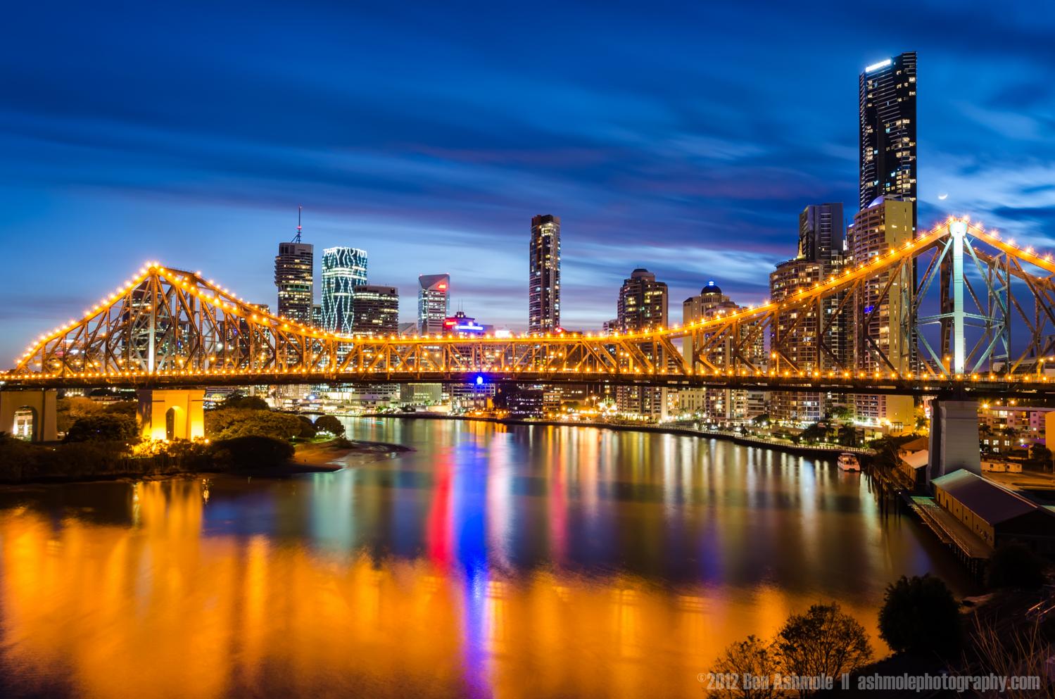 Brisbane and the Story Bridge in Blue Hour, Australia, Ben Ashmo