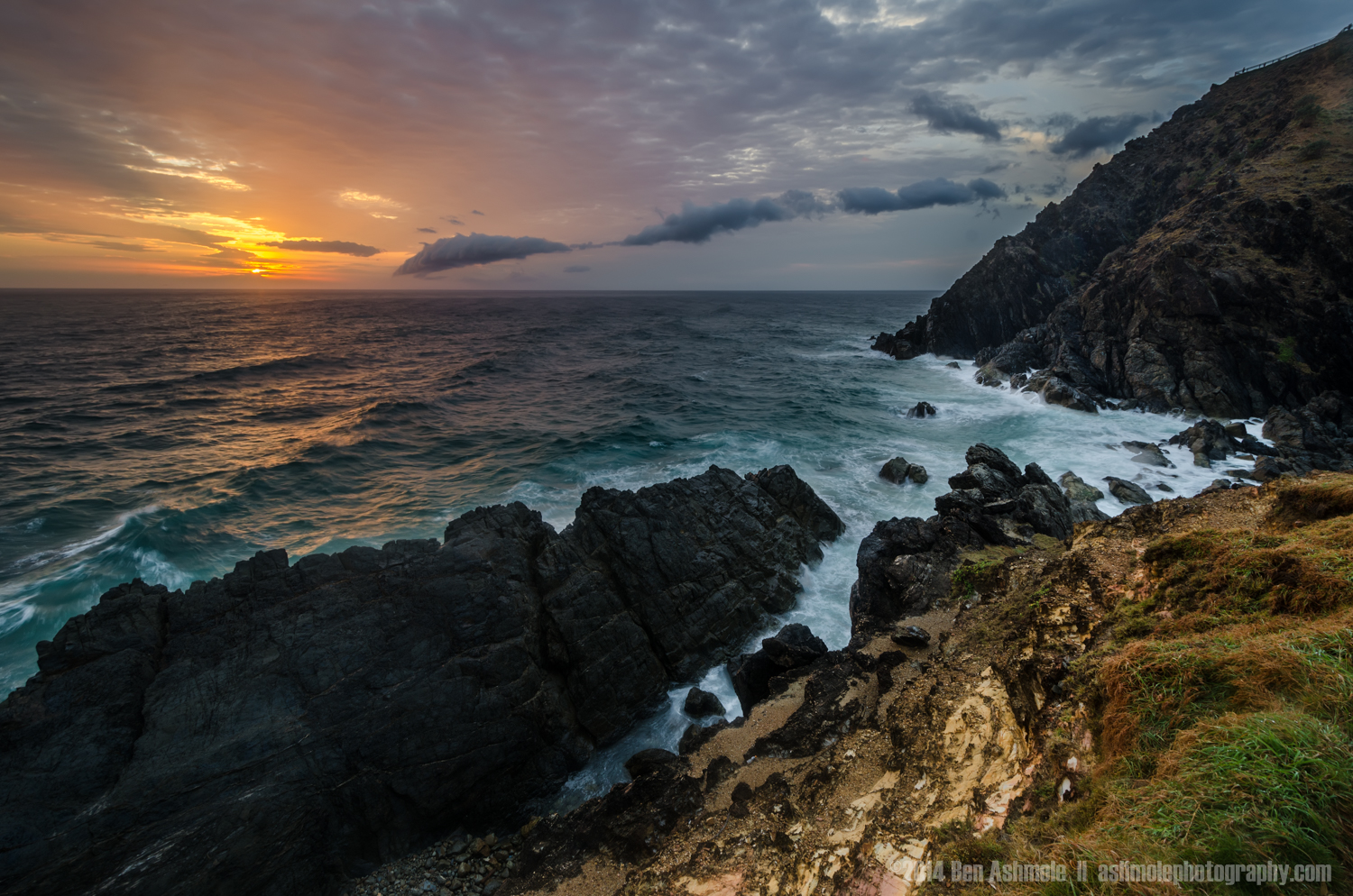 Cliffs At Sunrise, Byron Bay, NSW, Australia