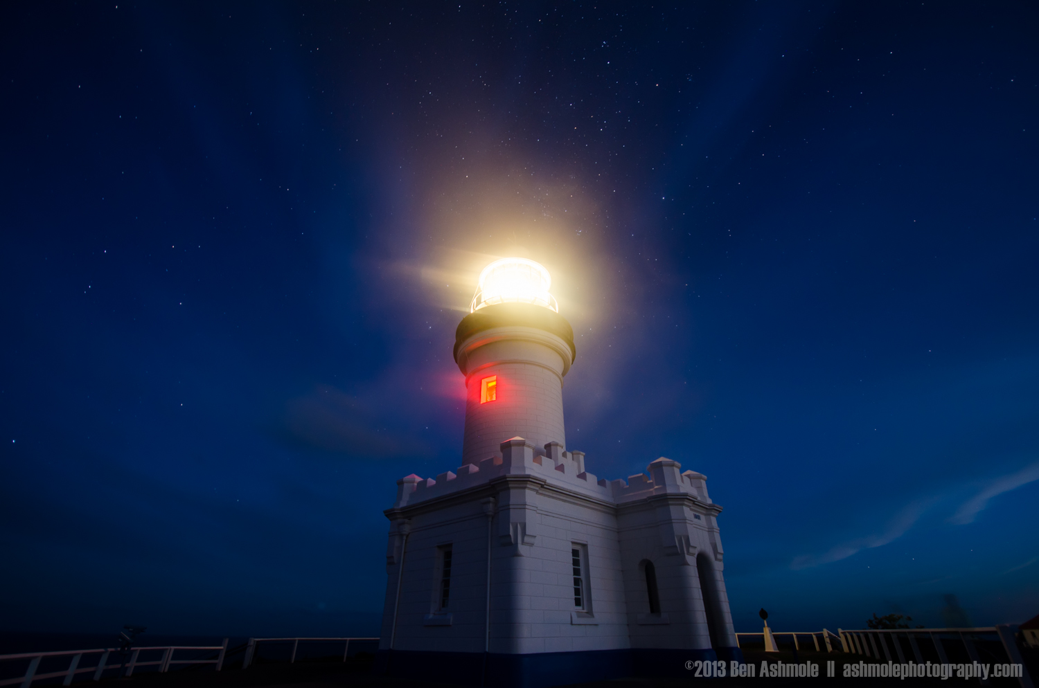 Bright Lighthouse Under the Stars, Byron Bay, New South Wales, A
