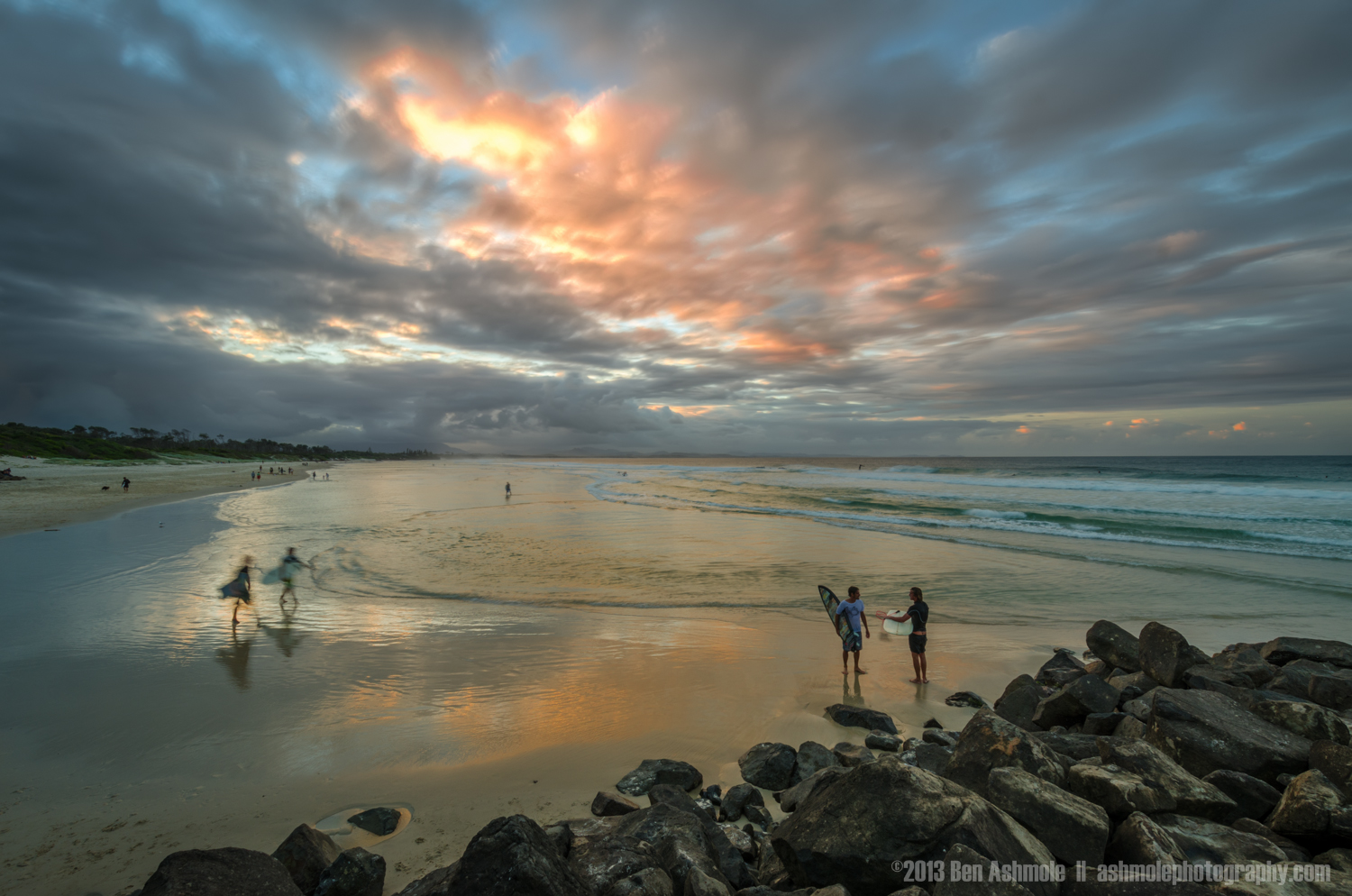 Surfers at Sunset, Byron Bay, New South Wales, Australia