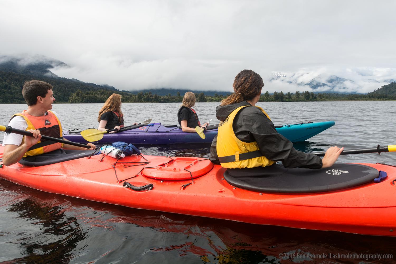 Kayaking Past Frans Joseph Glacier, Westland National Park, New