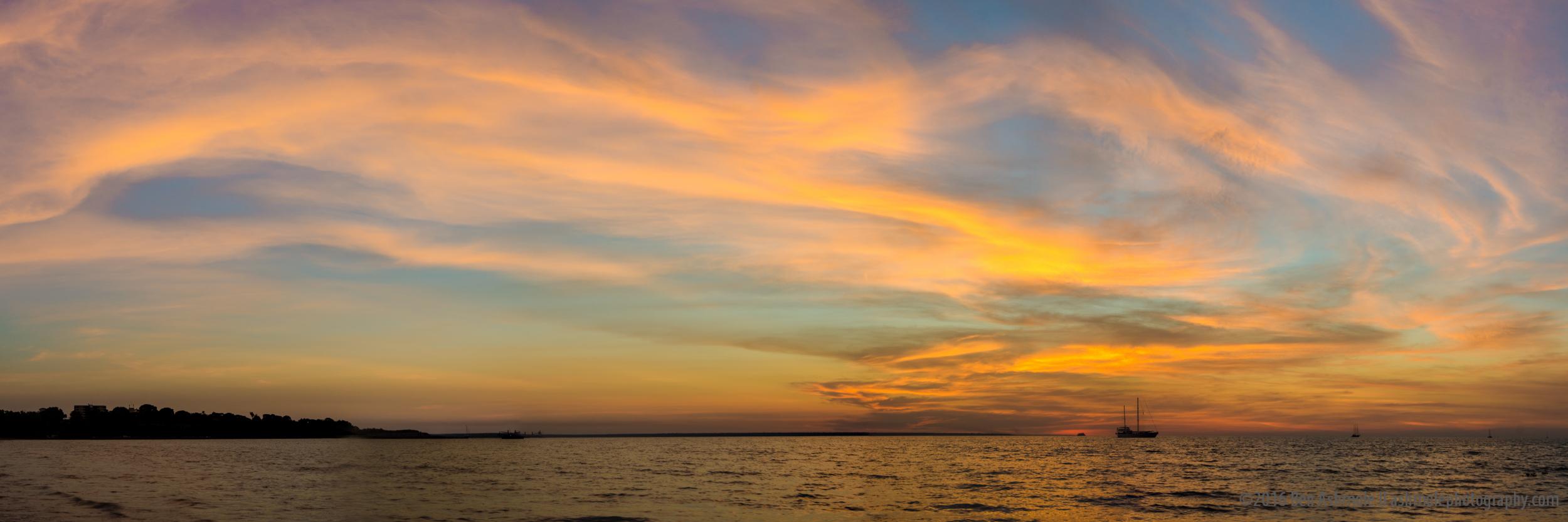 Panoramic Tropical Sunset, Mindil Beach, Darwin, NT, Australia