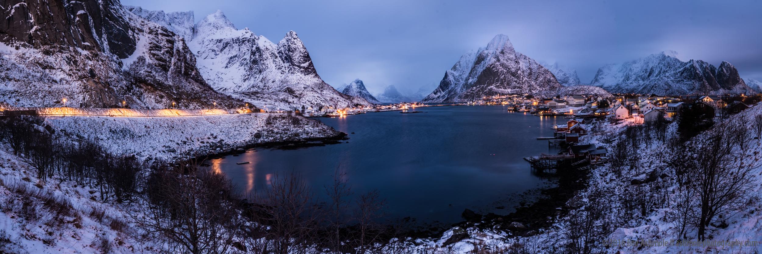 Reine Blue Hour, Panorama, Lofoten Islands