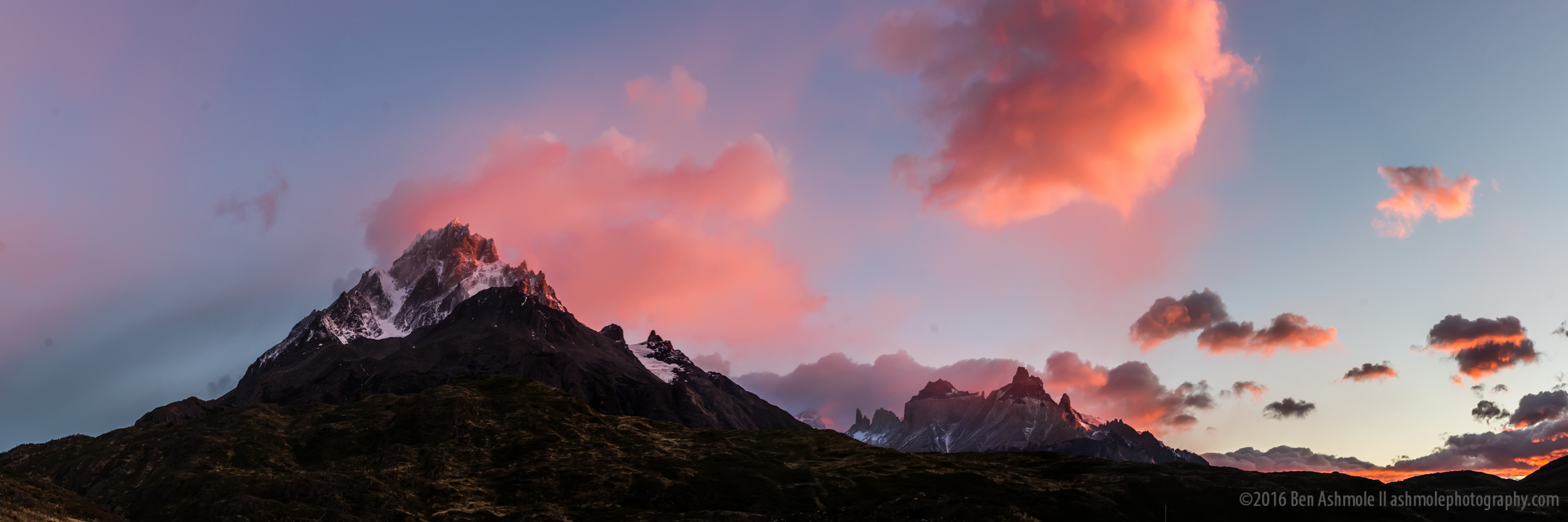 Torres Del Paine Sunrise Panorama, Torres Del Paine, Patagonia,