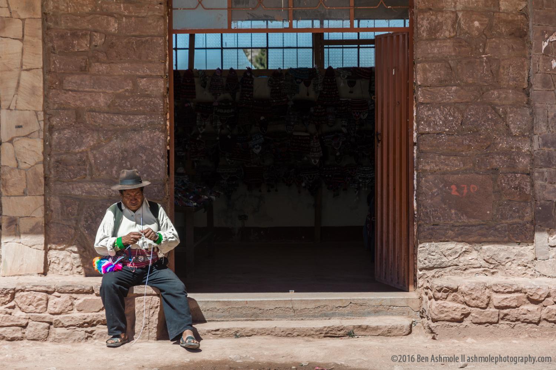 Knitting Man, Taquile, Lake Titicaca, Peru