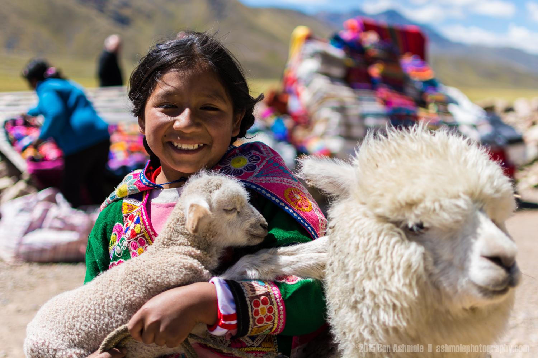 Peruvian Girl And Her Baby Alpaca, Cusco, Peru