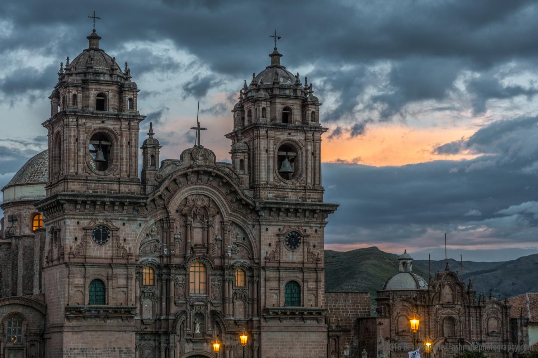 Iglesia de la Compania de Jesus At Sunset, Cusco, Peru