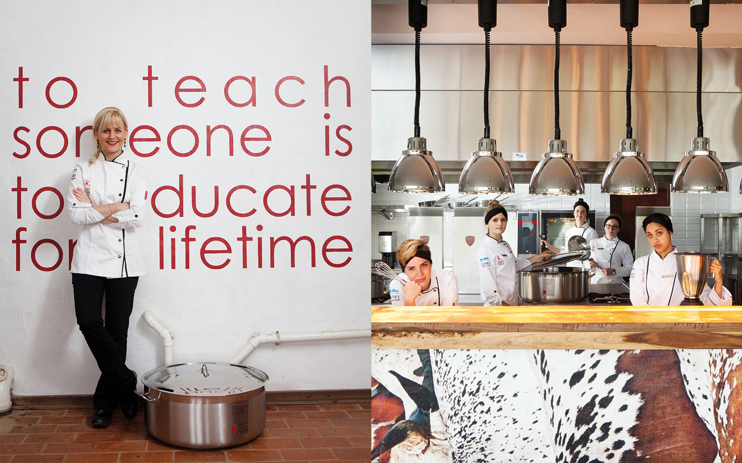 Award-winning chef Jackie Cameron recently opened her School of Food and Wine in her former childhood home in Hilton, KwaZulu-Natal;the students, from left, Kate Cousins, Carla Schulze, Cara Conway, Emily Schmidt and Rai-Teree Dass, in the state-of-the-art function venue kitchen.